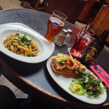 Smoked Chicken & Chorizo Penne Pasta and Organic Baked Irish Salmon Open Sandwich
