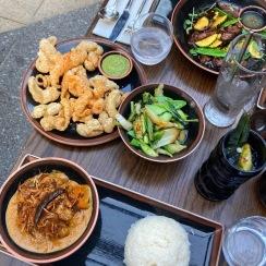 Beef Rendang, Chicharron, Asian Greens, Shaking Beef